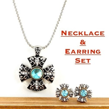 Fine Jewelry Brass with 3x Gold Overlay & Blue and White Sapphire Necklace and Clip On Earrings Set