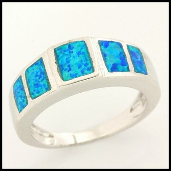 Fine Jewelry Brass with 3x Gold Overlay Blue Opal Ring Size 7