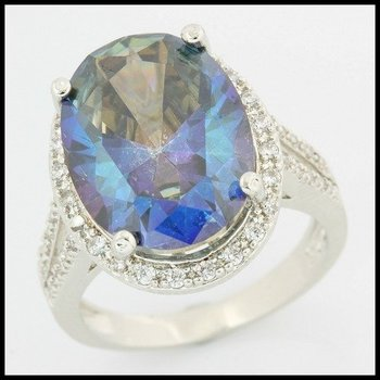 Fine Jewelry Brass with 3x Gold Overlay Blue & White Sapphire Ring Size 7