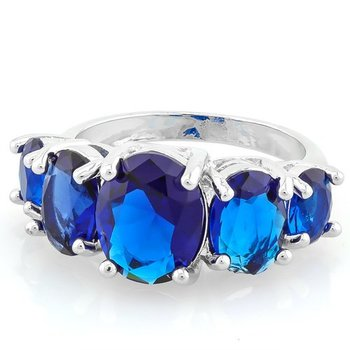 Fine Jewelry Brass with 3x  Gold Overlay Blue & White Sapphire Ring Size 8