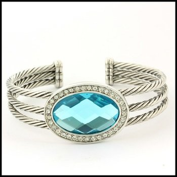 Fine Jewelry Brass with 3x  Gold Overlay Blue & White Topaz Cable Bracelet