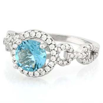 Fine Jewelry Brass with 3x  Gold Overlay Blue & White Topaz Ring Size 7
