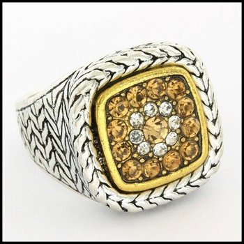 Fine Jewelry Brass with 3x Gold Overlay Citrine & (AAA Grade) CZ's Ring Size 7.5