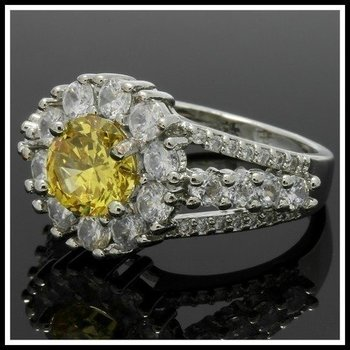 Fine Jewelry Brass with 3x Gold Overlay  Citrine & White Sapphire Ring Size 7.5