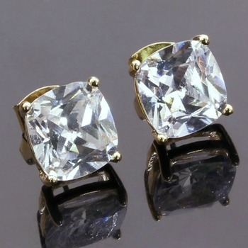 Fine Jewelry Brass with 3x Gold Overlay Cubic Zirconia Stud Earrings