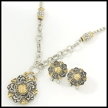 Fine Jewelry Brass with 3x Gold Overlay Earrings and Necklace Set
