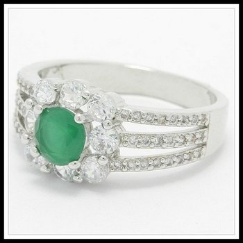 Fine Jewelry Brass with 3x Gold Overlay  Emerald & White Sapphire Ring Size 7