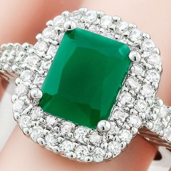Fine Jewelry Brass with 3x Gold Overlay Emerald & White Sapphire Ring Size 7.5