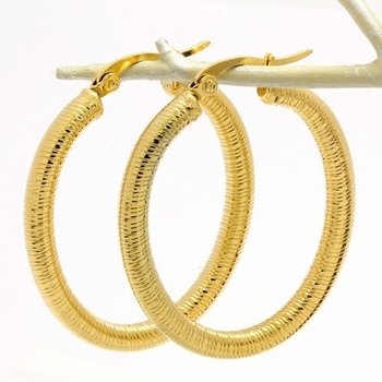 Fine Jewelry Brass with 3x Gold Overlay Hoop Earrings