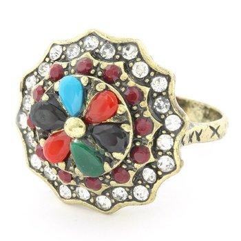 Fine Jewelry Brass with 3x Gold Overlay Multicolor Gemstones & (AAA Grade) CZ's Ring Size 7