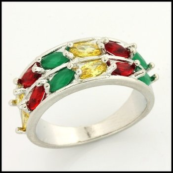 Fine Jewelry Brass with 3x Gold Overlay Multicolor Stone Ring Size 7