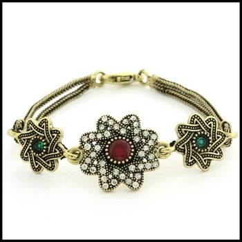 Fine Jewelry Brass with 3x Gold Overlay Multicolor Stones Bracelet