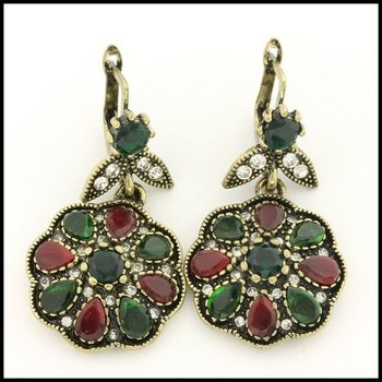 Fine Jewelry Brass with 3x Gold Overlay Multicolor Stones Earrings