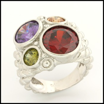 Fine Jewelry Brass with 3x Gold Overlay Multicolor Stones Ring Size 6