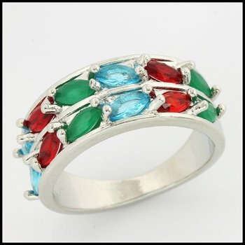 Fine Jewelry Brass with 3x Gold Overlay Multicolor Stones Ring Size 7