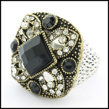 Fine Jewelry Brass with 3x Gold Overlay Onyx & (AAA Grade) CZ's Ring Size 8