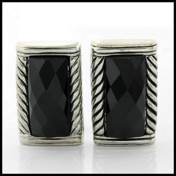 Fine Jewelry Brass with 3x Gold Overlay Onyx Earrings