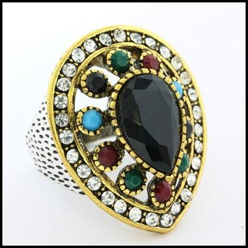 Fine Jewelry Brass with 3x Gold Overlay Onyx, Multicolor Gemstones & (AAA Grade) CZ's Ring Size 6.5