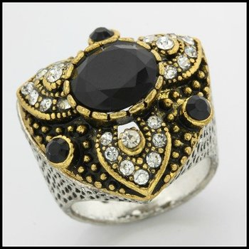 Fine Jewelry Brass with 3x Gold Overlay Onyx Ring Size 6