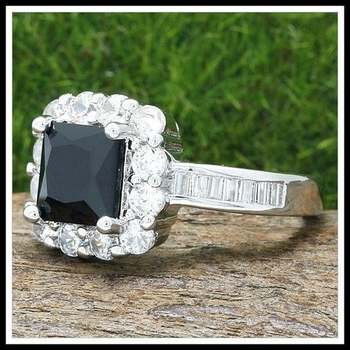 Fine Jewelry Brass with 3x  Gold Overlay Onyx & White Sapphire Ring Size 7