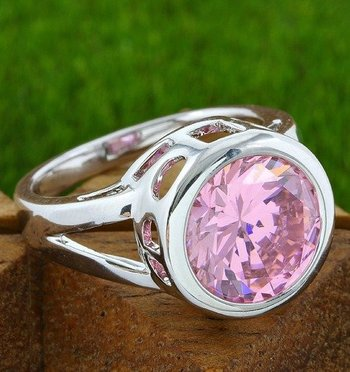 Fine Jewelry Brass with 3x Gold Overlay Pink Sapphire Ring Size 8