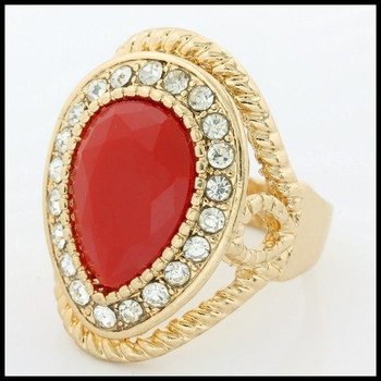 Fine Jewelry Brass with 3x Gold Overlay Ruby & (AAA Grade) CZ's Ring Size 6.5