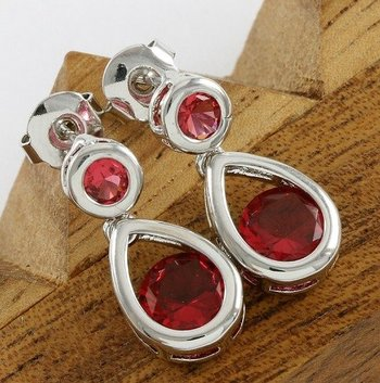 Fine Jewelry Brass with 3x Gold Overlay Ruby Earrings