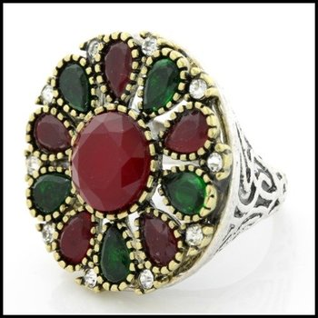 Fine Jewelry Brass with 3x  Gold Overlay Ruby & Emerald Ring 6.5