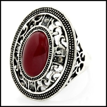 Fine Jewelry Brass with 3x  Gold Overlay Ruby Ring 8
