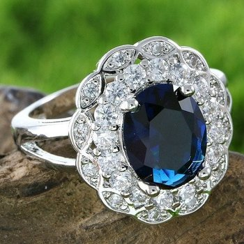 Fine Jewelry Brass with 3x Gold Overlay Sapphire Ring Size 7