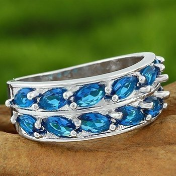Fine Jewelry Brass with 3x Gold Overlay Sapphire Ring Size 8