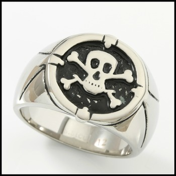Fine Jewelry Brass with 3x Gold Overlay Skull and Bones Men's Ring Size 12