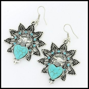 Fine Jewelry Brass with 3x Gold Overlay Turquoise & (AAA Grade) CZ's Earrings