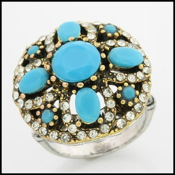 Fine Jewelry Brass with 3x  Gold Overlay Turquoise Ring 7.5
