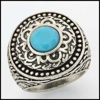 Fine Jewelry Brass with 3x  Gold Overlay Turquoise Ring Size 6.5