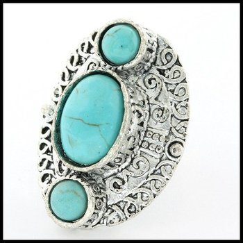 Fine Jewelry Brass with 3x Gold Overlay Turquoise Ring Size 7