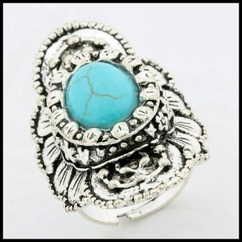 Fine Jewelry Brass with 3x Gold Overlay Turquoise  Ring Size 7-9 adjustable