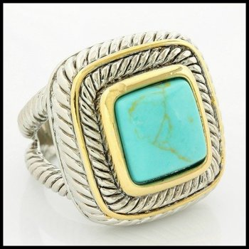 Fine Jewelry Brass with 3x Gold Overlay Turquoise Ring Size 8