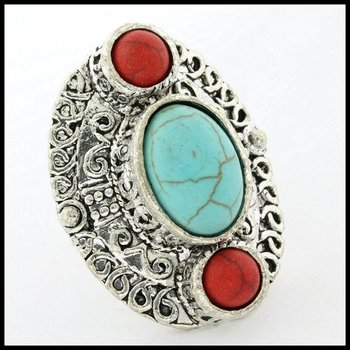 Fine Jewelry Brass with 3x Gold Overlay Turquoise & Ruby Ring Size 7