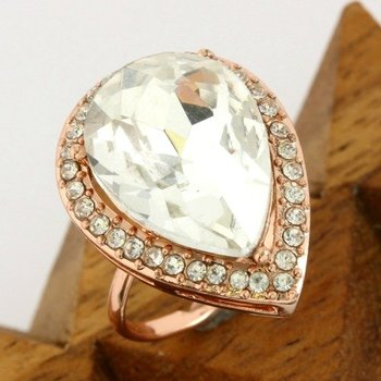 Fine Jewelry Brass with 3x Gold Overlay White Sapphire Adjustable Ring