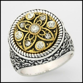 Fine Jewelry Brass with 3x  Gold Overlay White Sapphire Ring Size 6.5