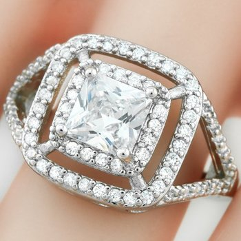 Fine Jewelry Brass with 3x  Gold Overlay White Sapphire Ring Size 7
