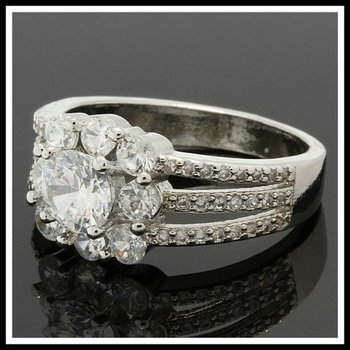 Fine Jewelry Brass with 3x Gold Overlay  White Sapphire Ring Size 8