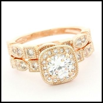 Fine Jewelry Brass with 3x Rose Gold Overlay 1.50ctw White Topaz Bridal Engagement Ring Size 7