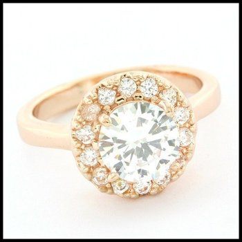 Fine Jewelry Brass with 3x Rose Gold Overlay 2.75ctw White Topaz Ring Size 7.75