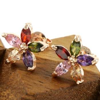 Fine Jewelry Brass with 3x Rose Gold Overlay Beautifully Created Multi Color Stone Stud Earrings