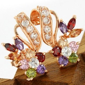 Fine Jewelry Brass with 3x Rose Gold Overlay Beautifully Created Multicolor Stone Earrings