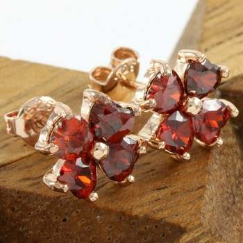 Fine Jewelry Brass with 3x Rose Gold Overlay Beautifully Created Ruby Stud Earrings