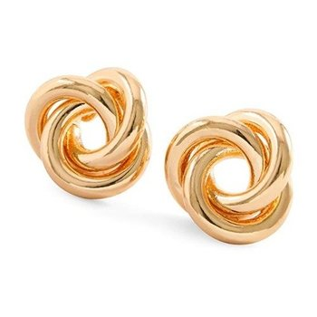 Fine Jewelry Brass with 3x Rose Gold Overlay Knot Stud Earrings