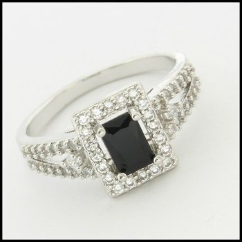Fine Jewelry Brass with 3x White Gold Overlay, 1.30ctw Onyx & (AAA Grade) CZ's Ring Size 7